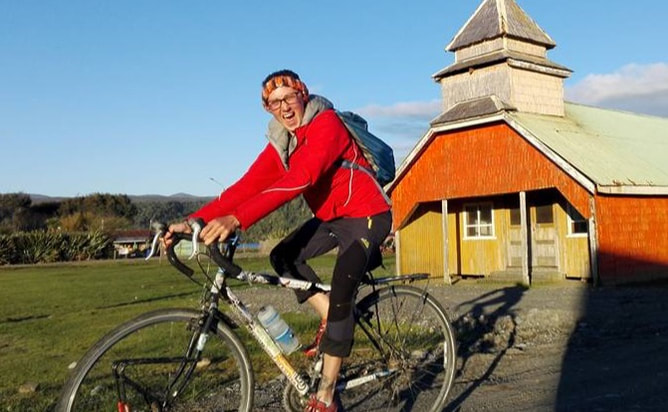 Sylvie Froncek on bike tour in Chiloe, Chile, confidence in cycling and bike maintenance, vie cycle llc